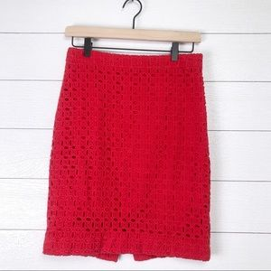 J Crew • No. 2 Pencil Skirt Red 4